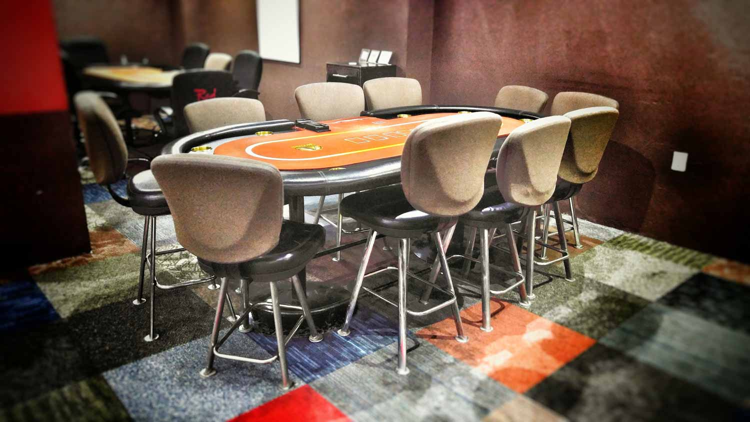 Several Texas Hold Em' poker tables at the small casino in Playa Del Carmen.