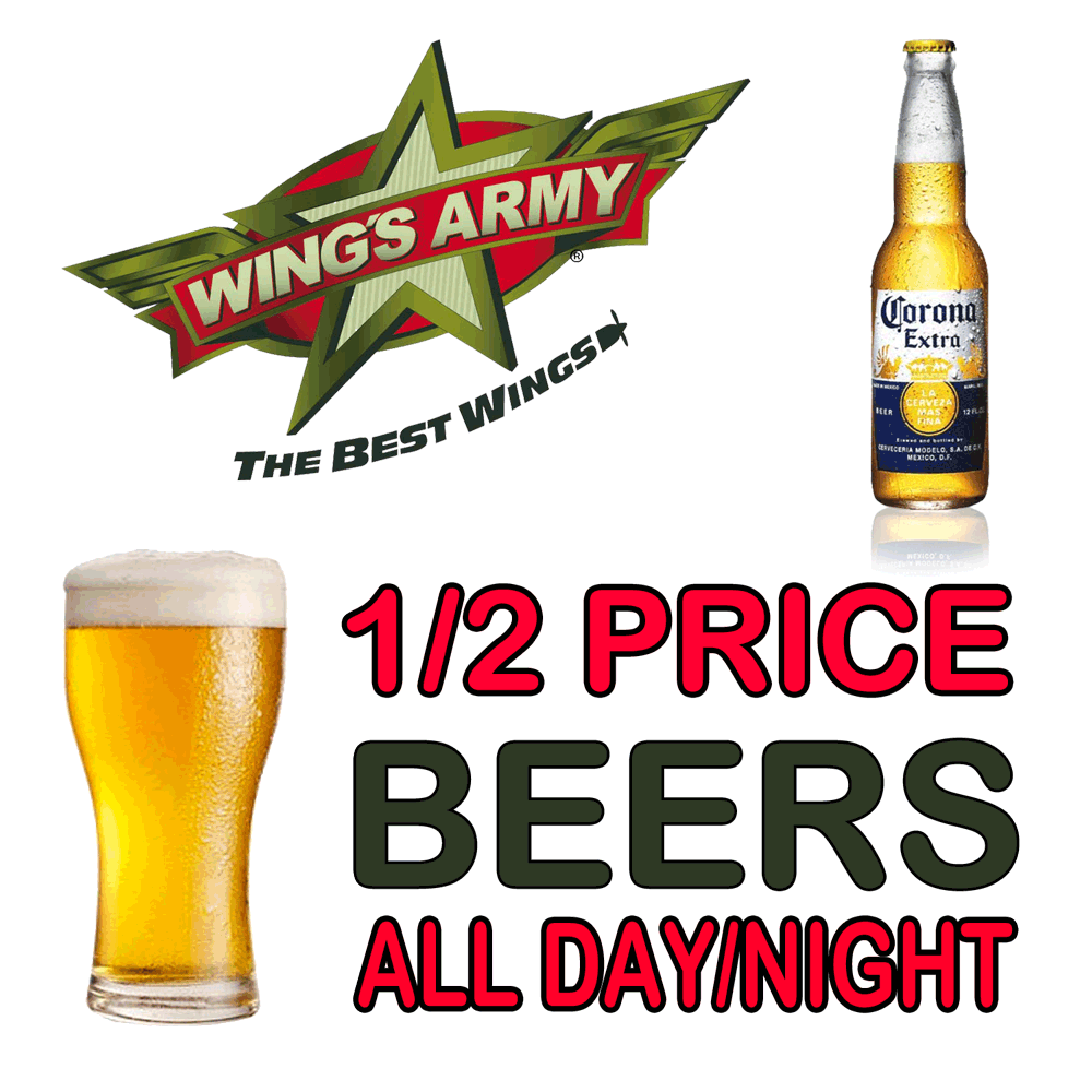 50% Discount On Nearly ALL Beer on Mondays At Wings Army Playa Del Carmen