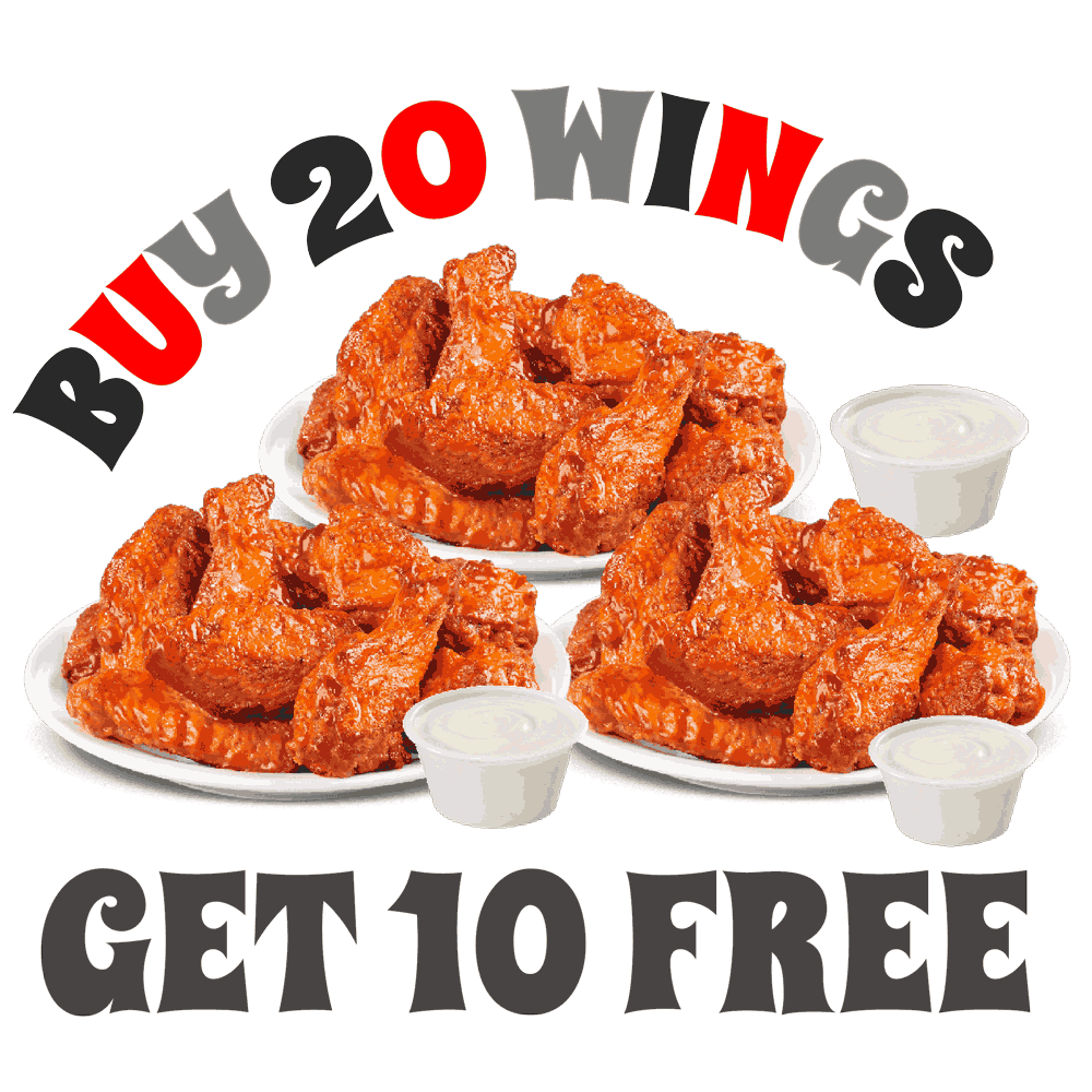 Buy 20 Wings At Wing's Army and Get 10 FREE!
