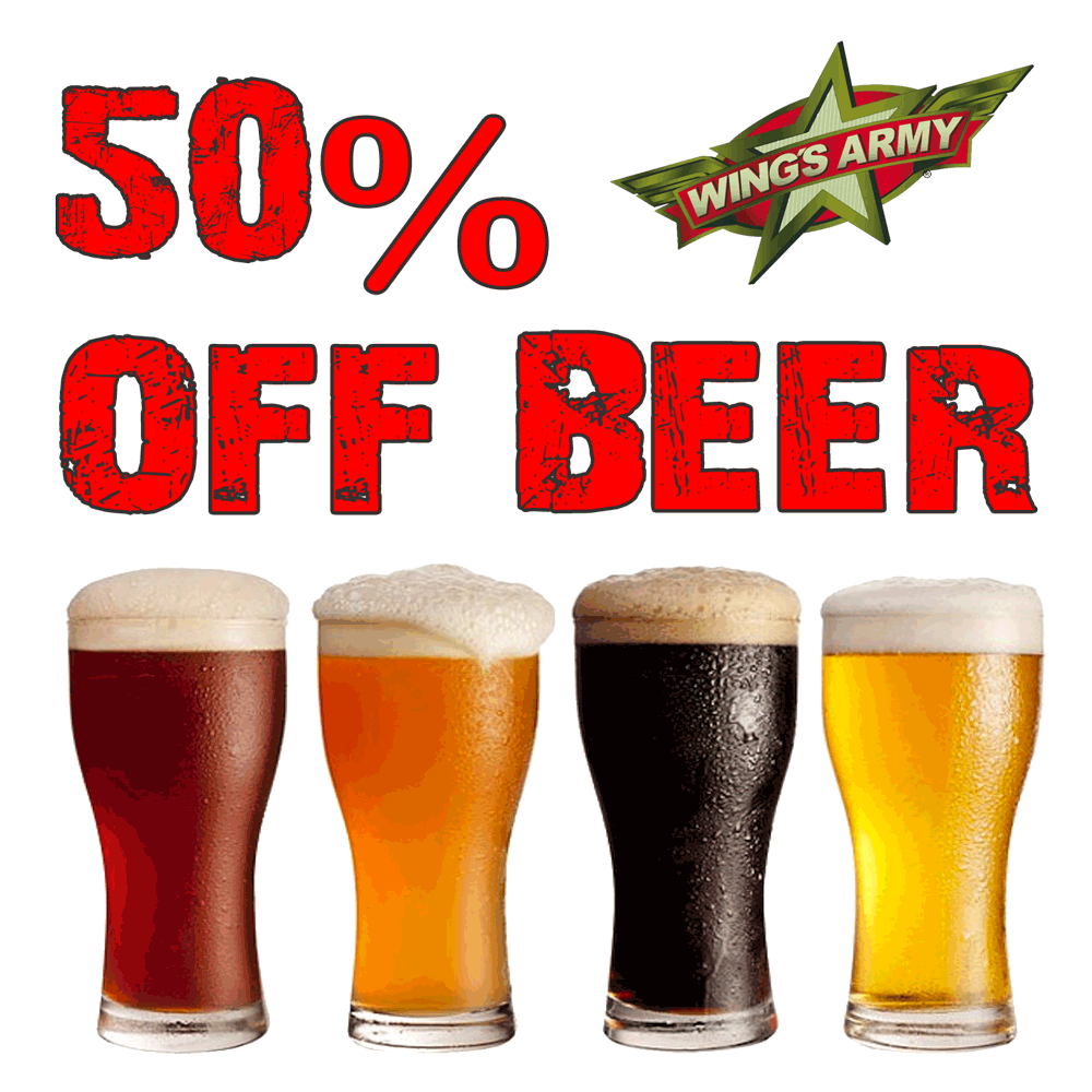 50% Discount On Almost All Beers On Thursdays At Wing's Army In Playa Del Carmen