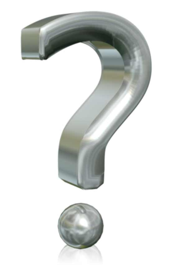 Metallic question mark graphic.