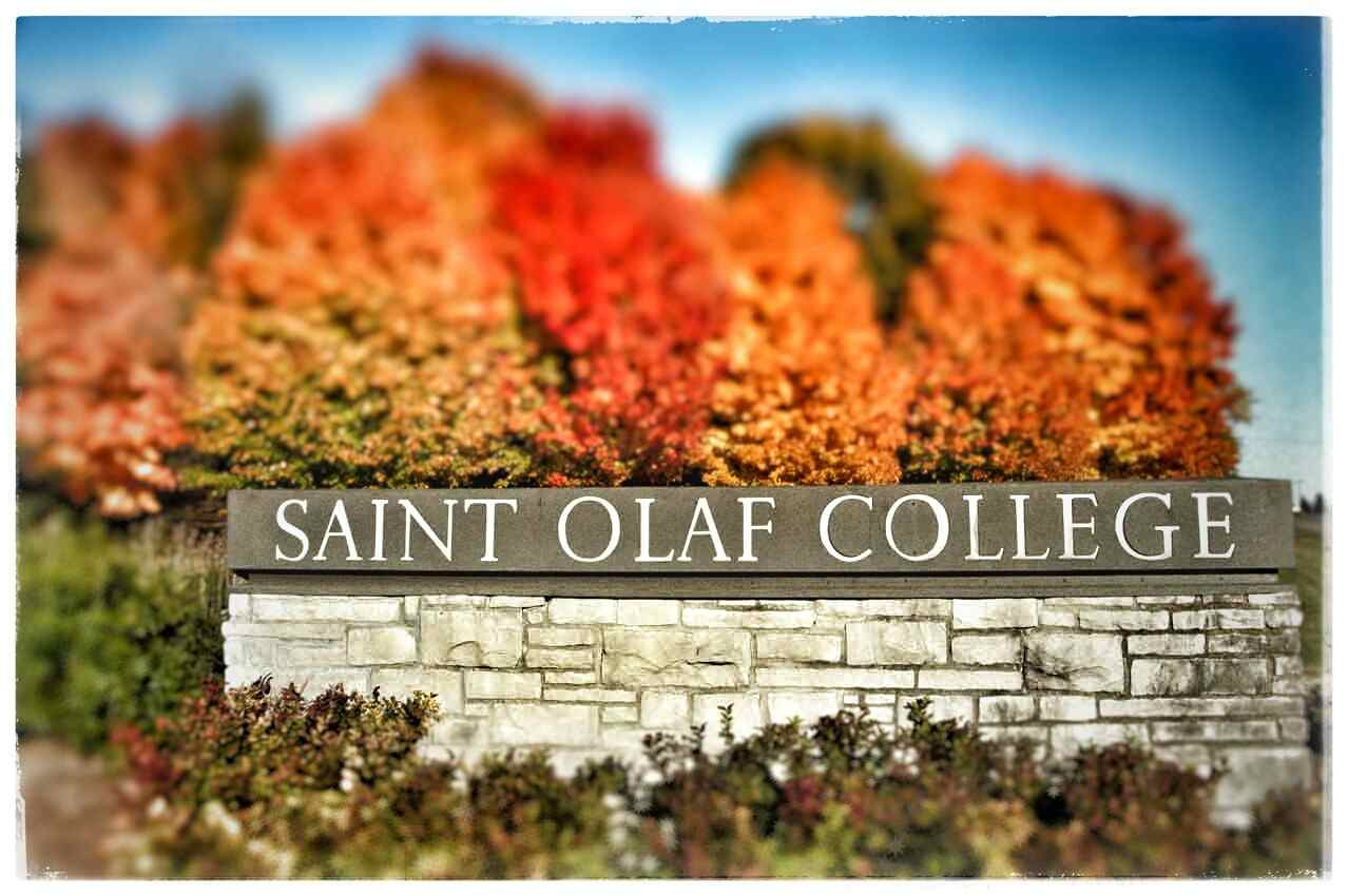 A photograph of the south entrance of St. Olaf College in Northfield, MN.