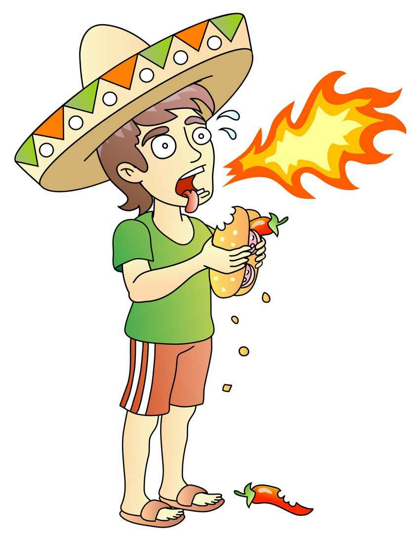 A cartoon drawing of a man with a sombrero, eating a spicy sandwich, and breathing fire.