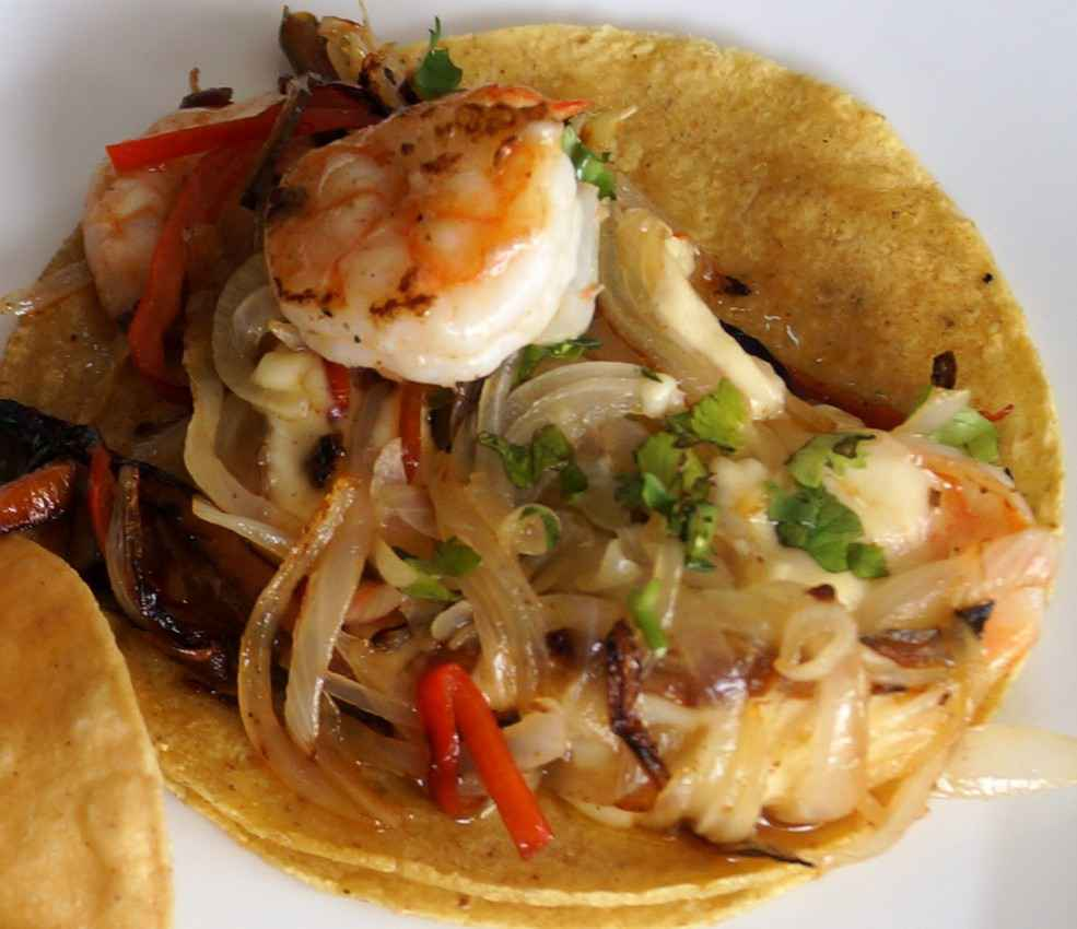A shrimp and vegetable taco at a restaurant in Playa Del Carmen.