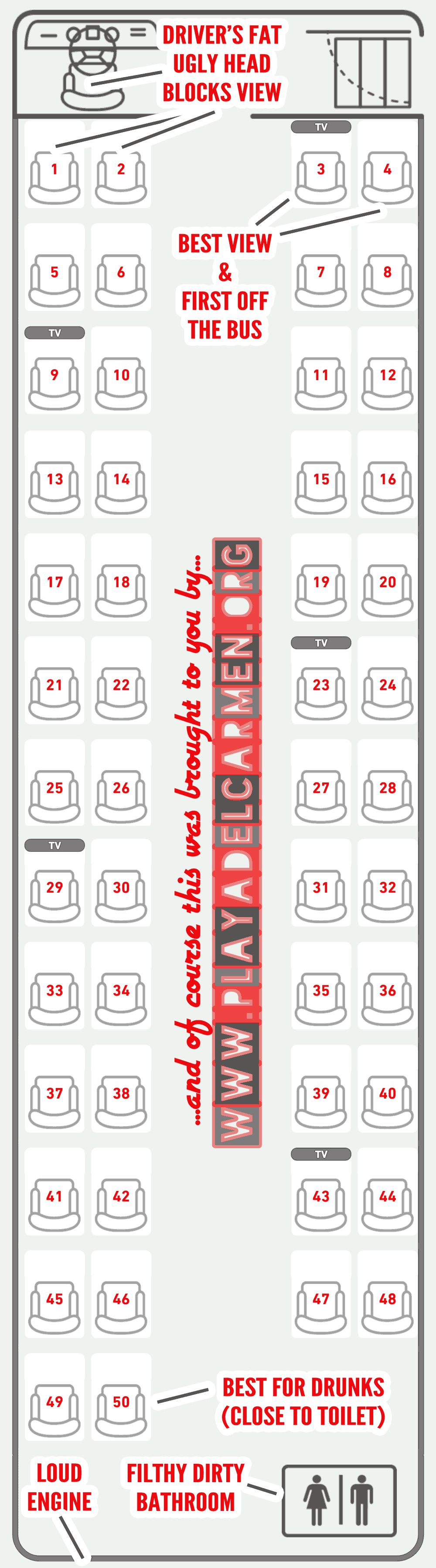An bus seating chart showing how ADO bus seats are numbered.