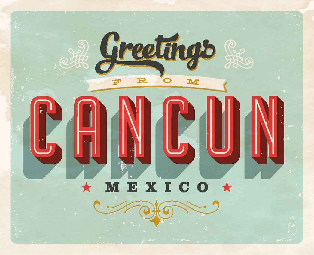 Greetings from Cancun Mexico graphic.