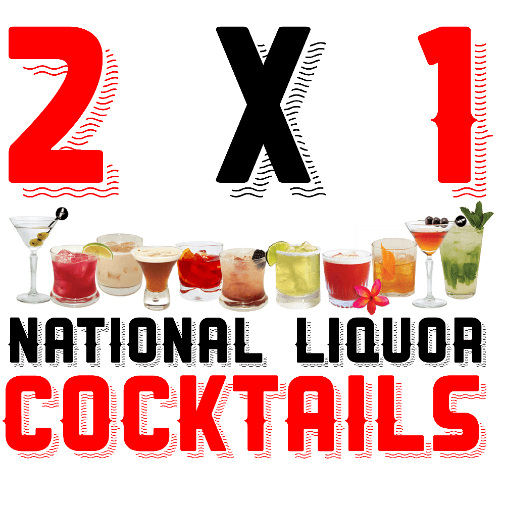 Happy 2 for 1 National Liquor Cocktails at Carboncitos