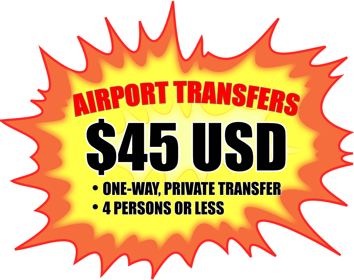 A $45 USD airport transfer graphic.