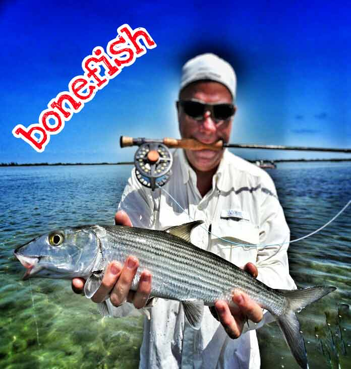 A man holding up a beautiful bonefish that he caught while flyfishing near Playa Del Carmen. Because his hands are full, he is holding his flyfishing rod and reel in his mouth.