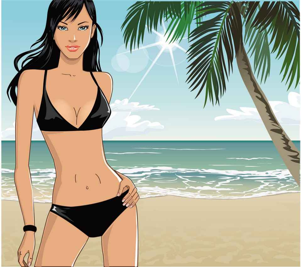 A graphic showing a woman in a black bikini on the beach with the sun shining brightly and a palm tree next to her.