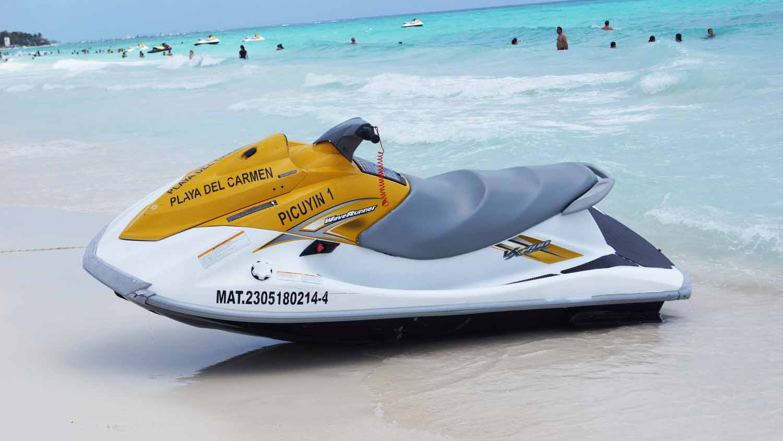 A jet ski on the beach in Playa Del Carmen.