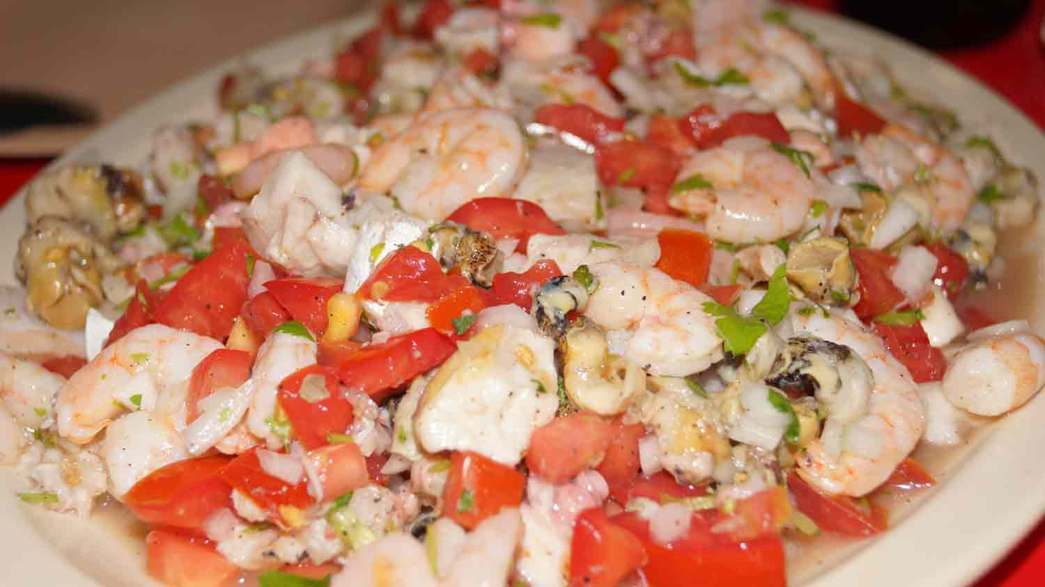 A delicious looking plate of shrimp ceviche.