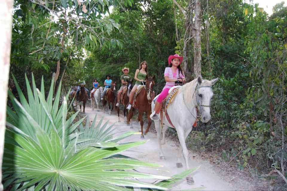 Several horseback riders following a path in Playa Del Carmen jungle