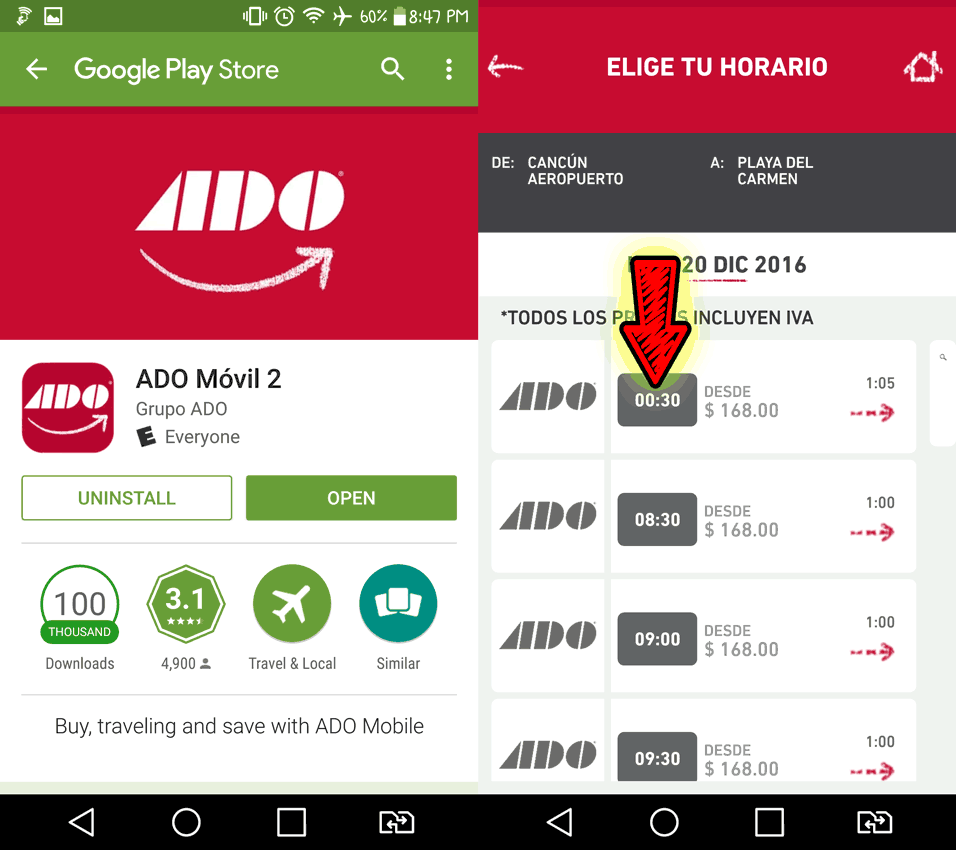 ADO bus app in Google Play Store with bus schedule next to it.