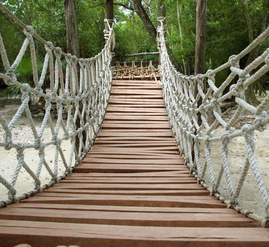 A wooden and rope bridge that is seen during a popular Playa Del Carmen jungle tour.