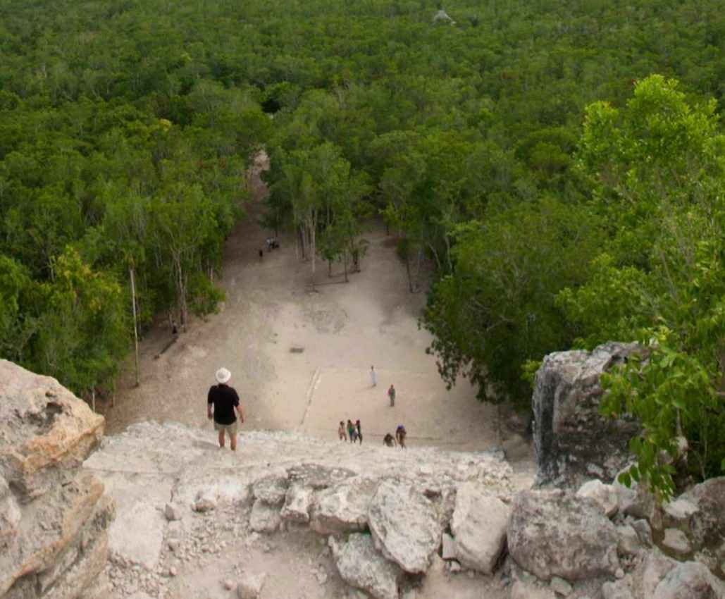 A photograph that was shot from the top of a Mayan pyramid.