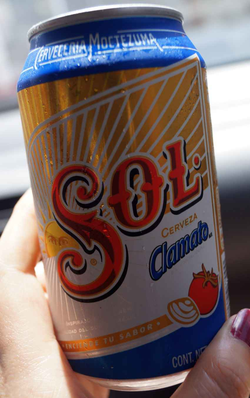 A Sol beer with Clamato.