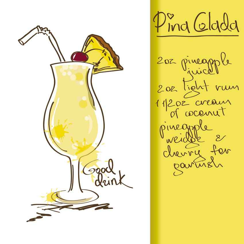 Pina colada drink recipe.