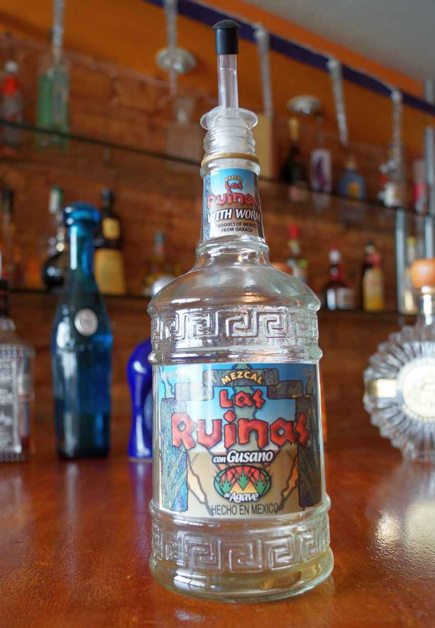 A bottle of Las Ruina tequila.
