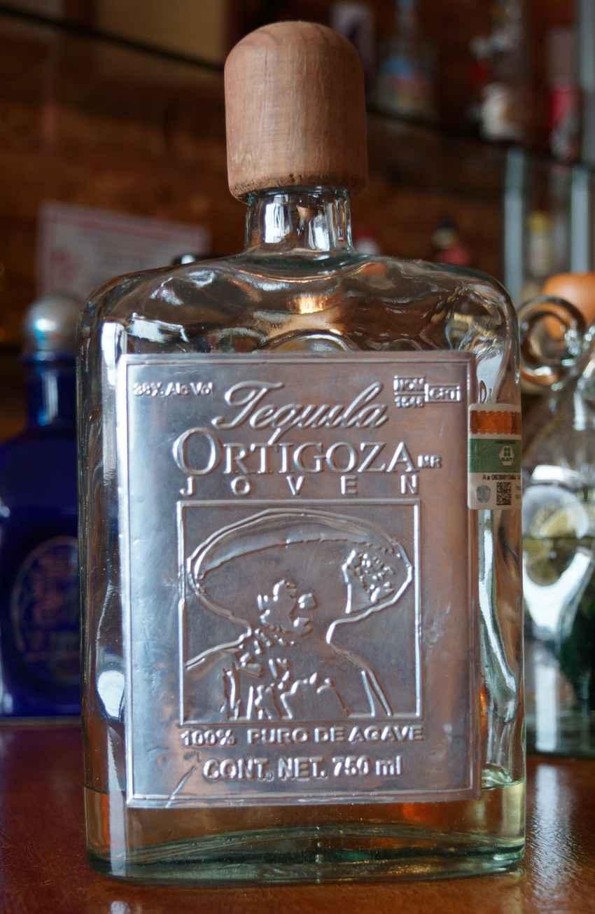 A bottle of Ortigoza Joven tequila.