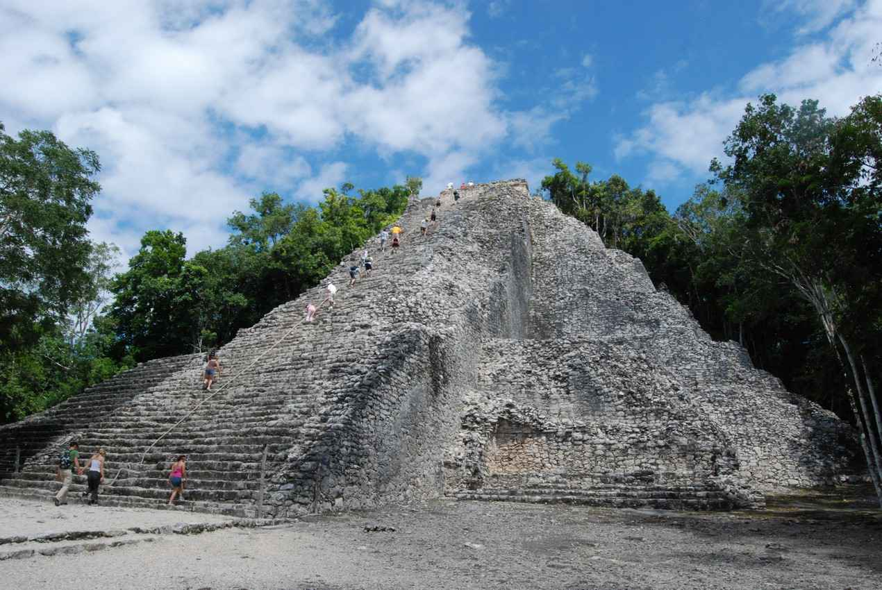 One of the Mayan pyramids at the Coba ruins.