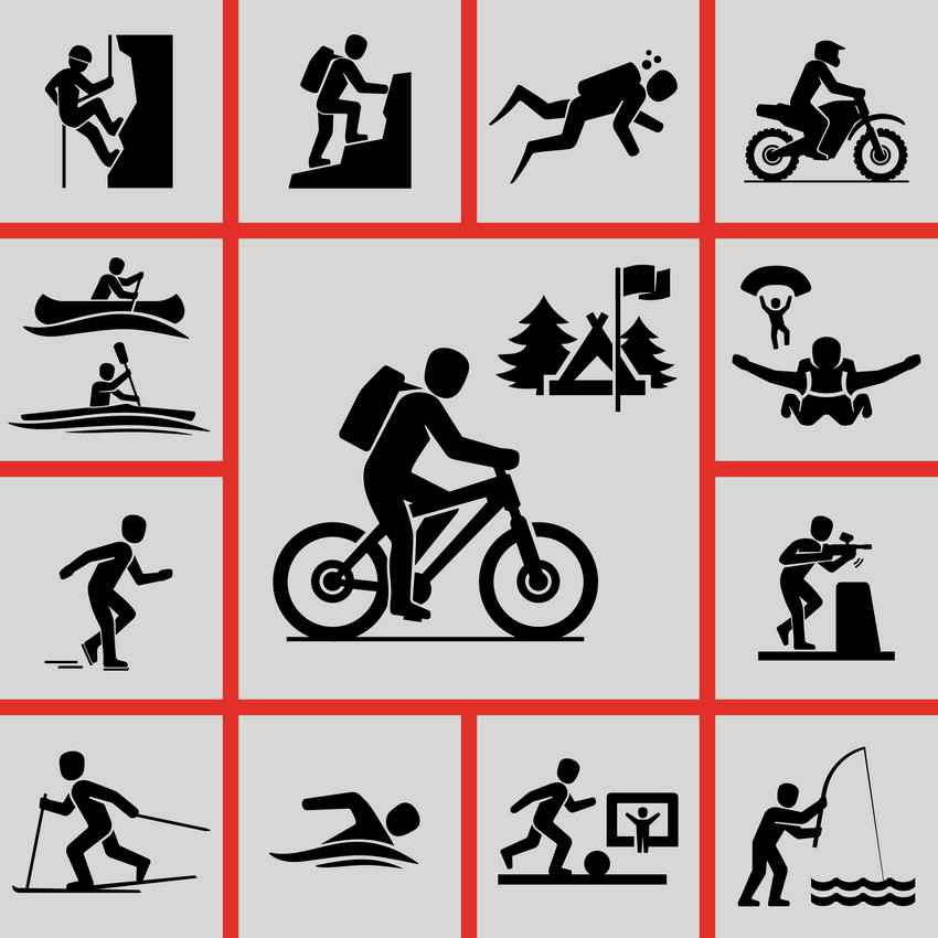 A graphic showing various physical activities.