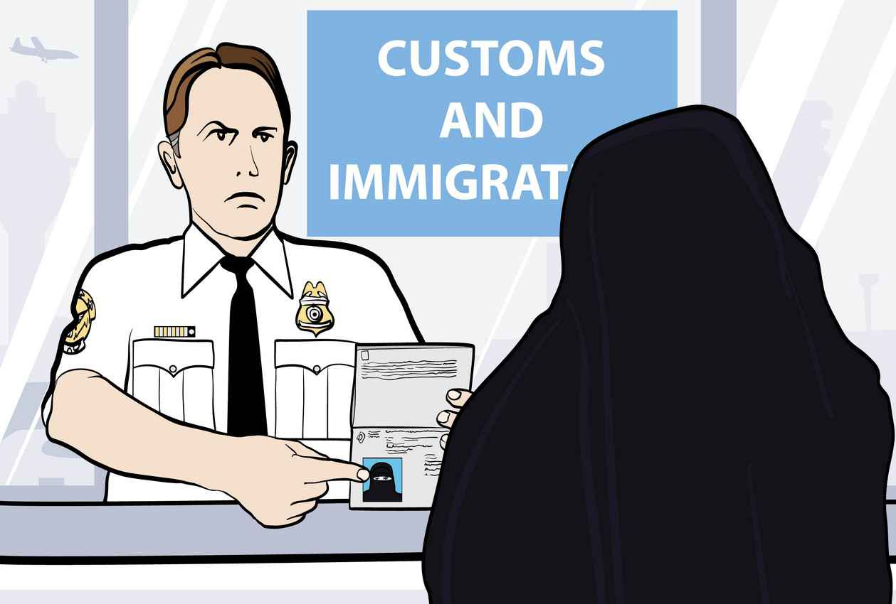 A cartoon of a customs and immigration officer angry at a woman because she is wearing a Muslim burqa.