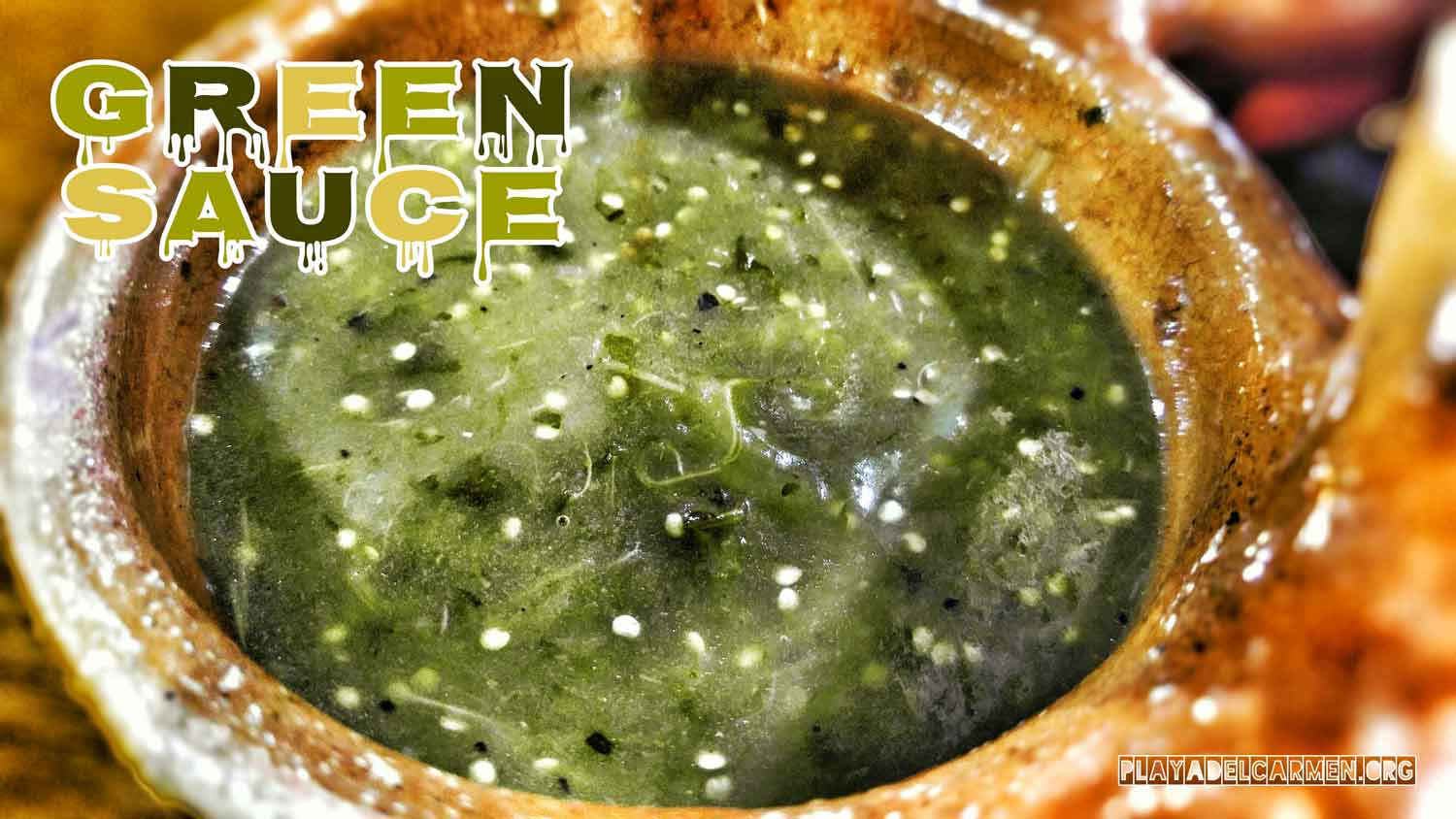 Authentic green sauce served at one of the many restaurants on 5th Avenue.