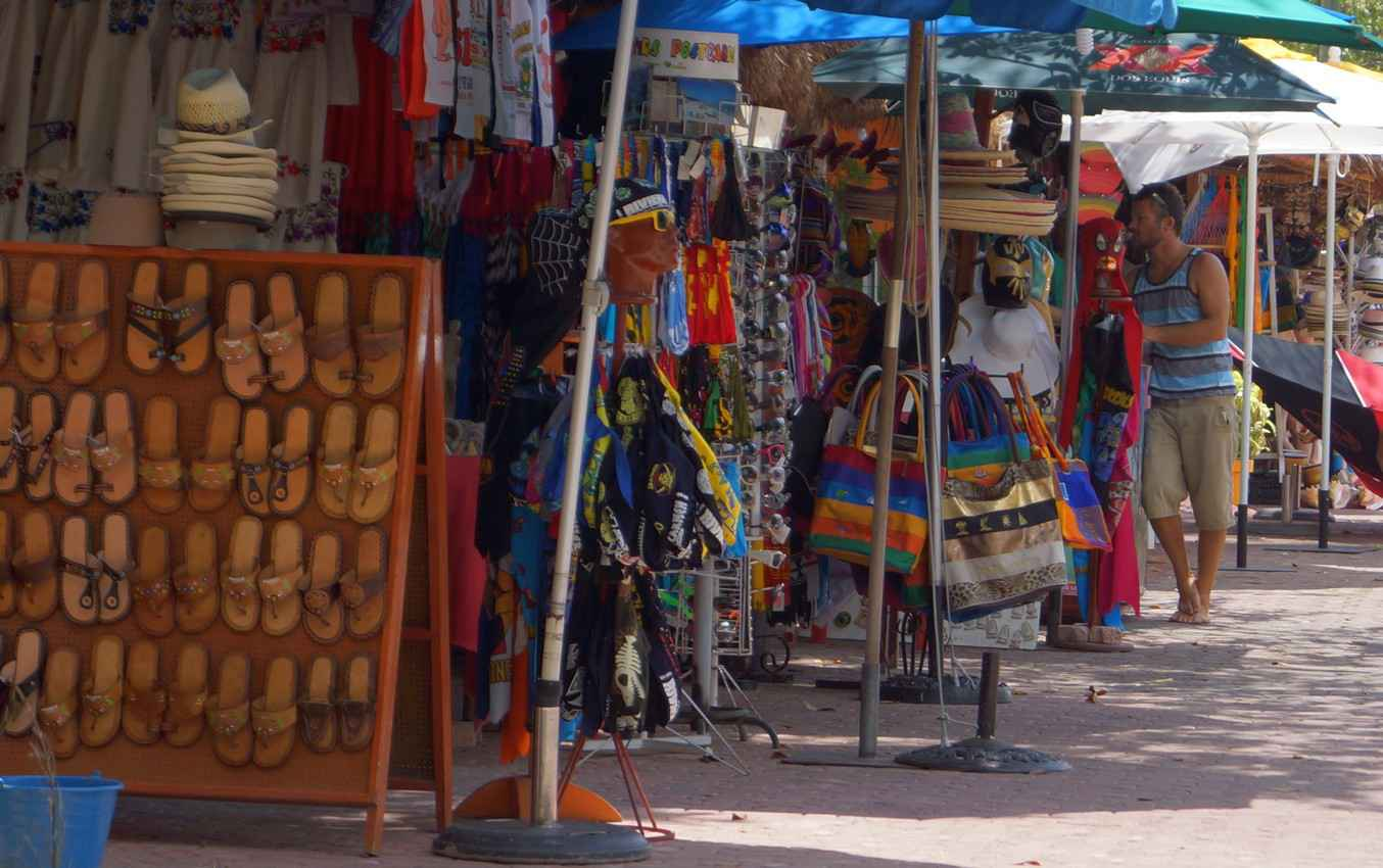 Several street shops in Playa Del Carmen.