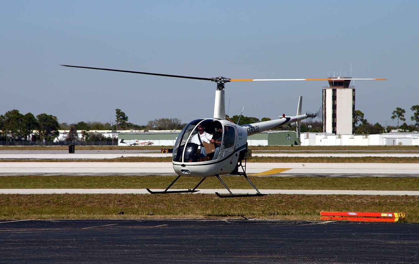 A helicopter at the Playa Del Carmen airport