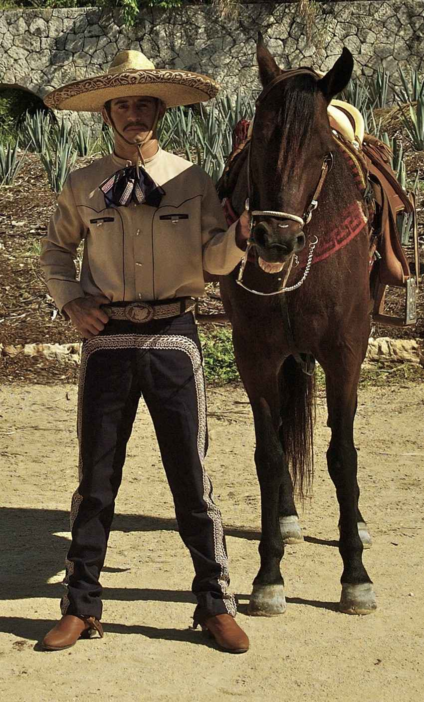 A traditional Mexican male horse rider.