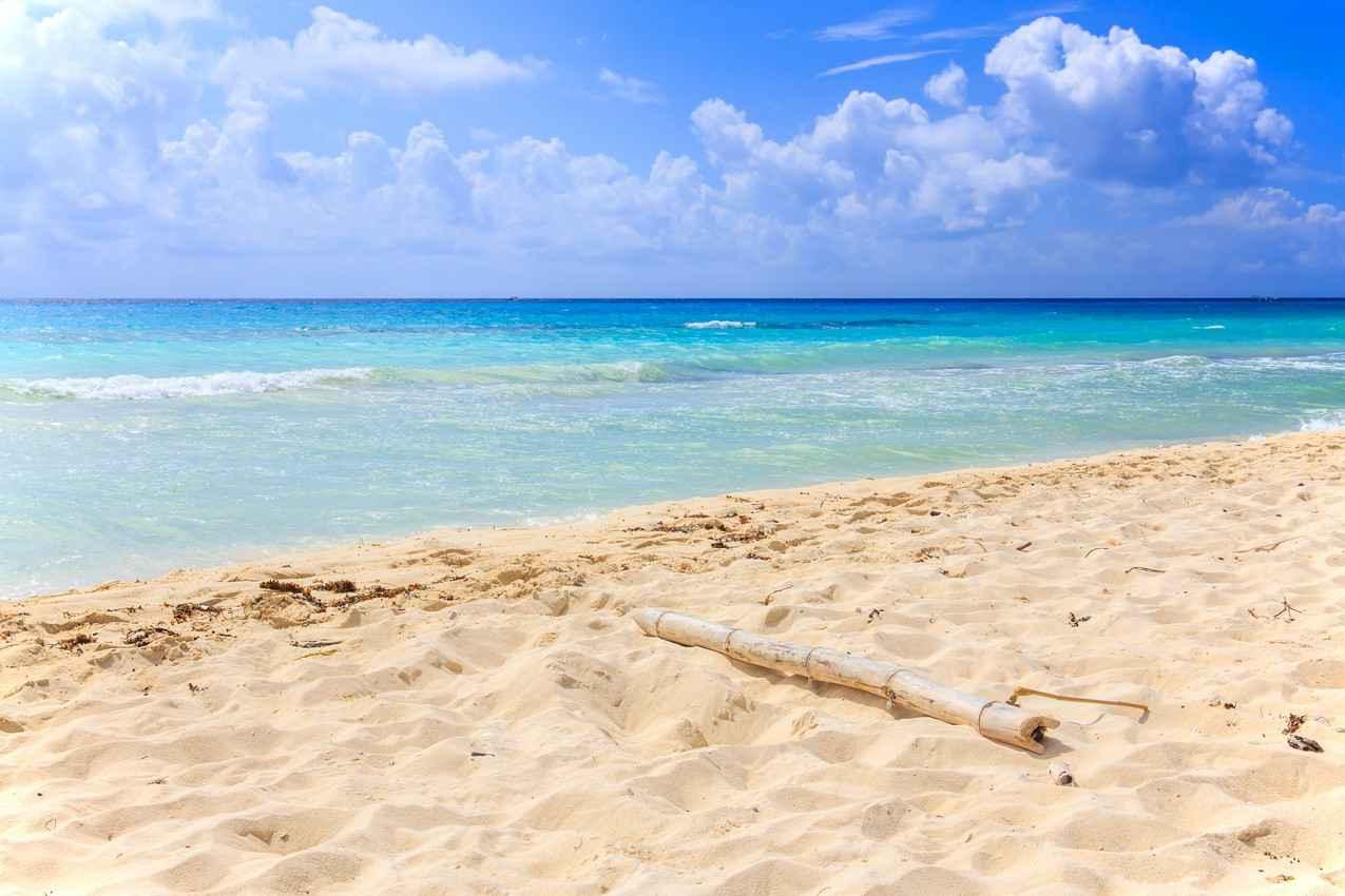 The beautiful white sand beach on the Playa Del Carmen shore.