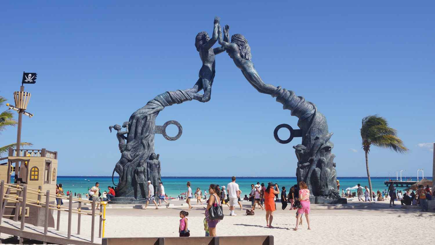 Another side view of the statue on the beach in Playa Del Carmen.