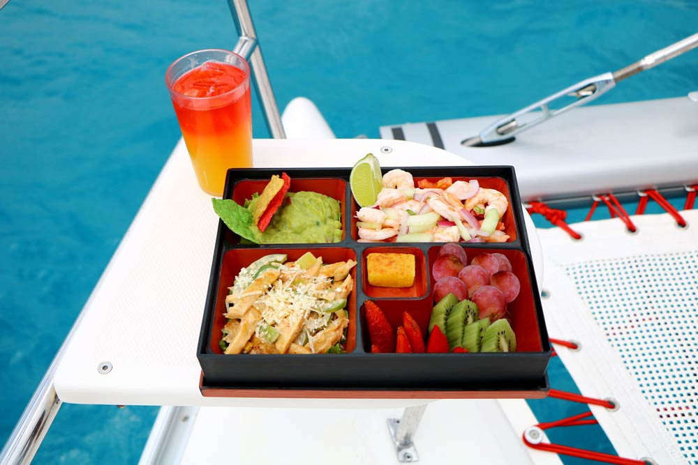 drinks-and-food-on-the-deck-of-a-playa-del-carmen-booze-cruise-boat