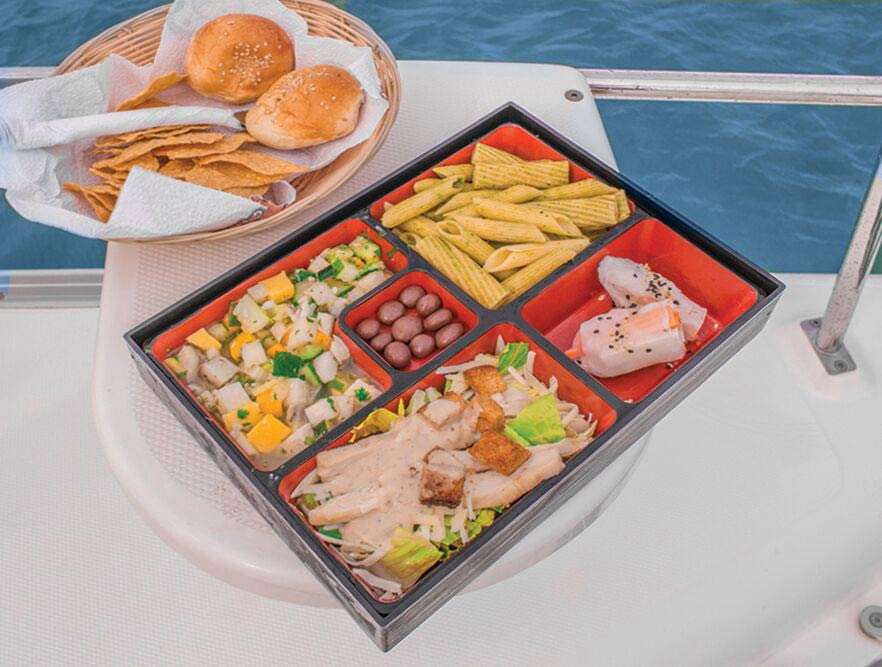 lunch-and-appetizers-on-the-deck-of-a-playa-del-carmen-booze-cruise-ship