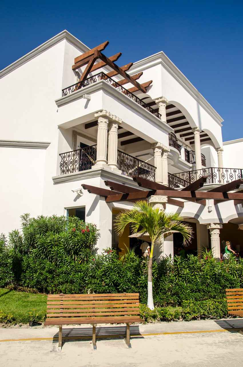 A group of condos with beautiful balconies near 5th Avenue in Playa Del Carmen.