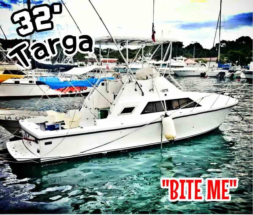 "A 32-foot Targa named ""Bite Me"" available for rent in Playa Del Carmen."