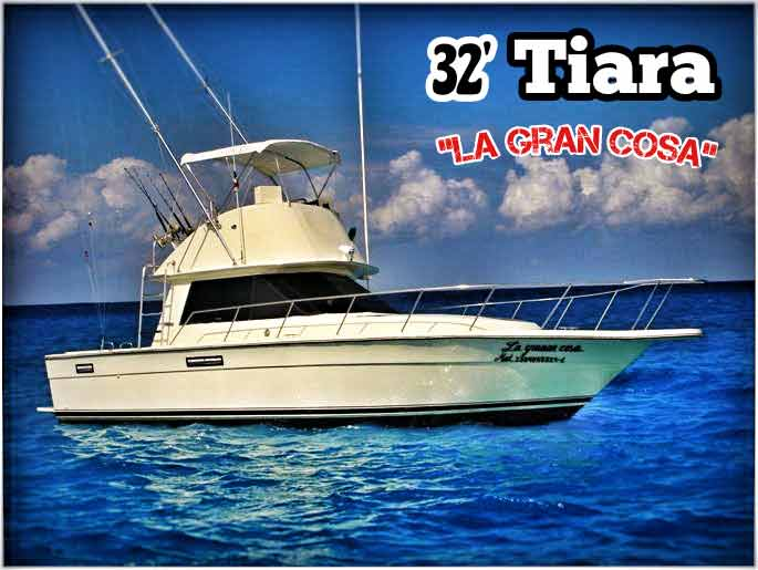 A 32-foot Tiara deep sea fishing boat for rent off the shore of Playa Del Carmen.