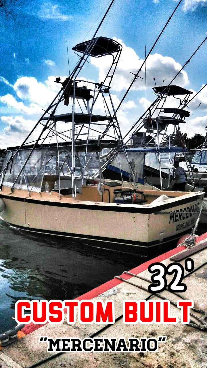 A custom built, 32-foot deep sea fishing boat for rent in Playa Del Carmen.