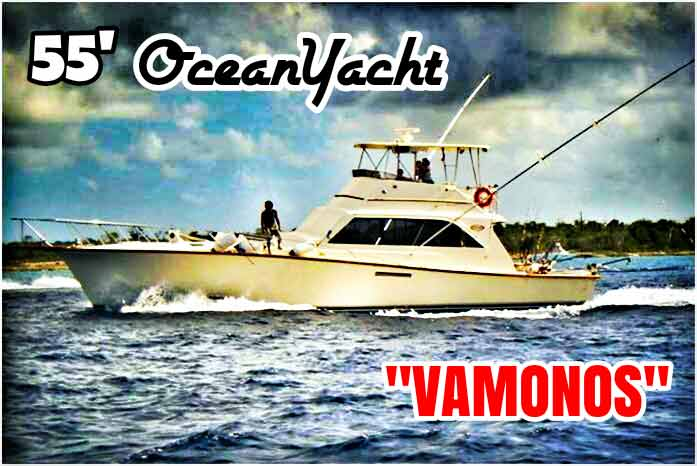 A large OceanYacht (manufacturer) 55-foot fishing boat between Playa Del Carmen and Cozumel.