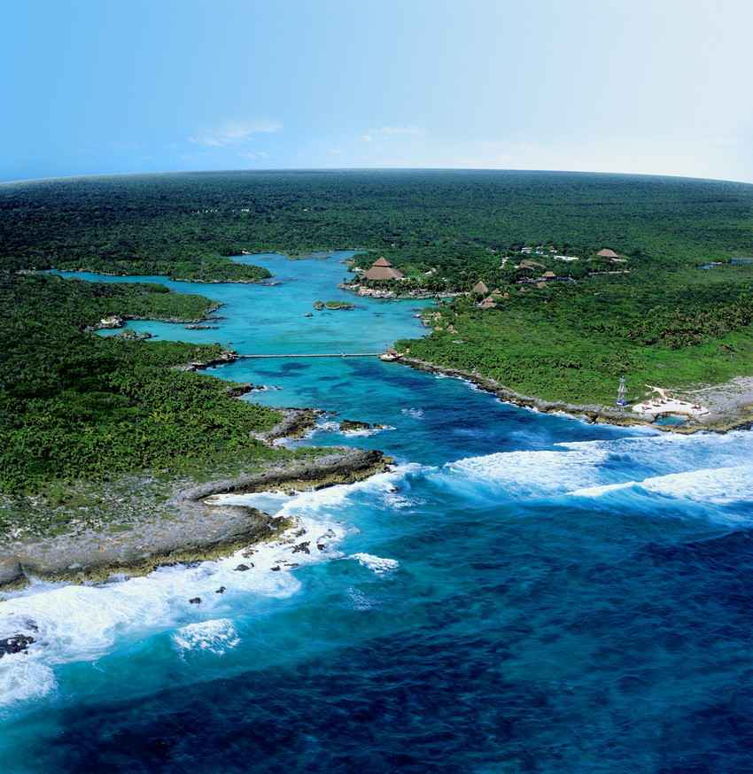 Xel-Ha themepark from the air.