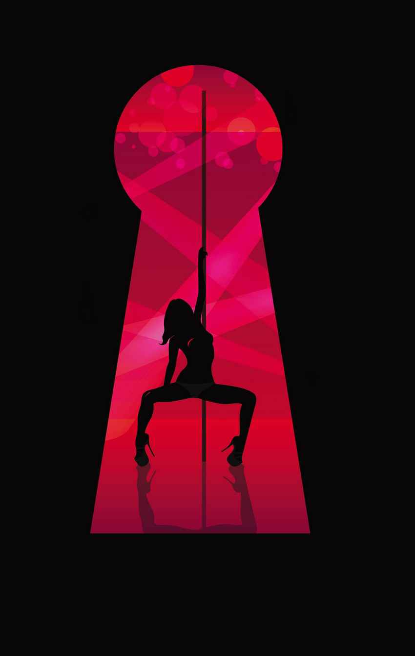 A peep show graphic showing a woman dancing on a pole.