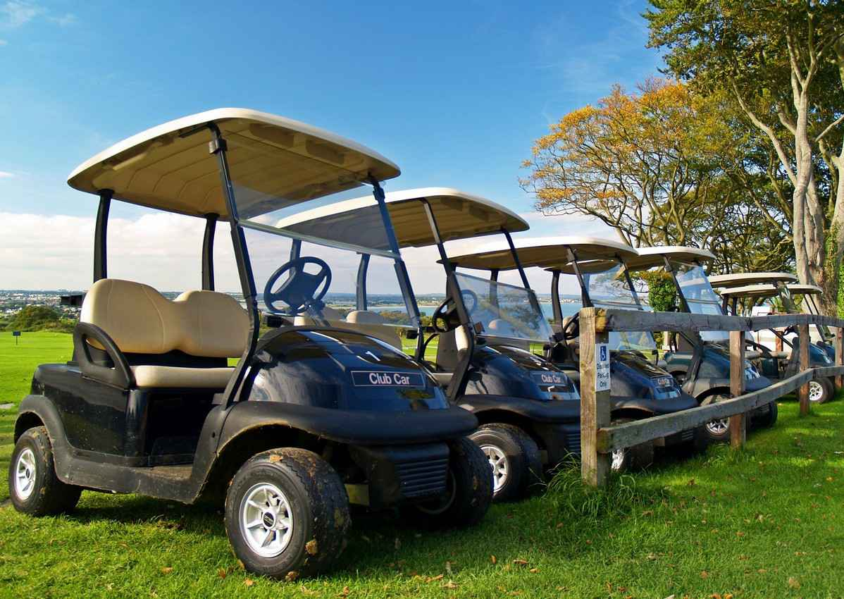 Several golf carts lined up and ready to be used.