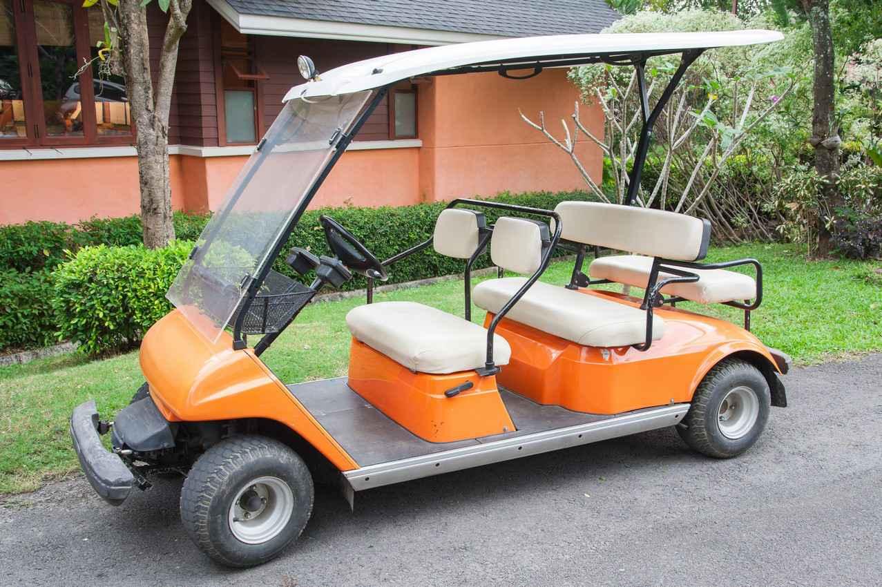 A golf cart for rent.