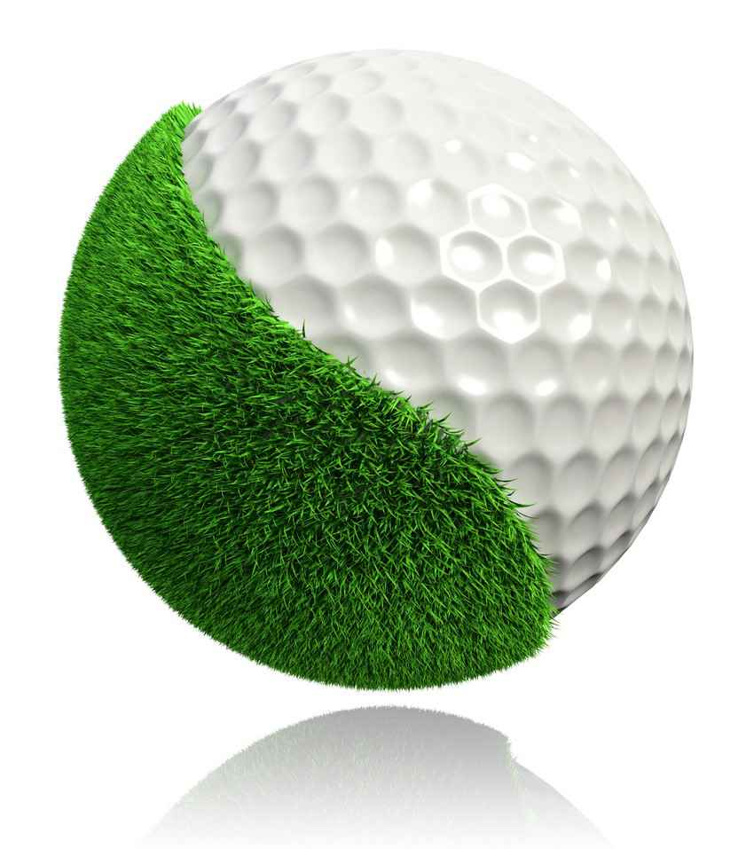 A Zen-style golf ball graphic that is half ball and half green grass.