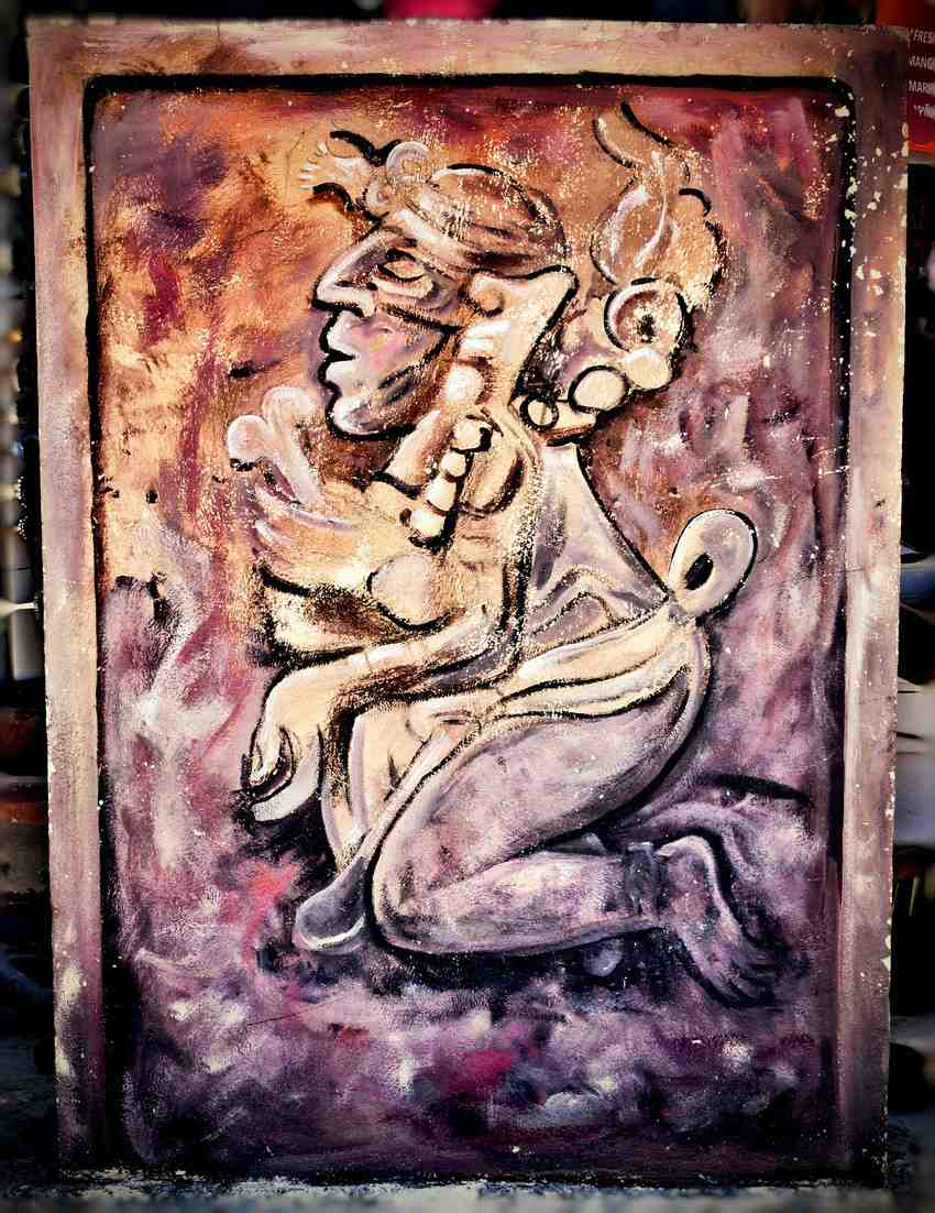 A painting of an ancient Mayan art piece for sale outside of Playa Del Carmen, Mexico.