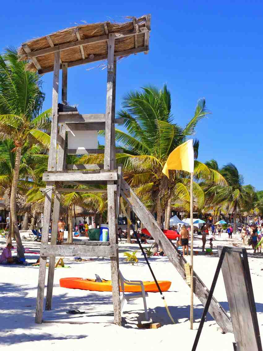 A high-rise lifeguard chair at Akumal beach near Playa Del Carmen.
