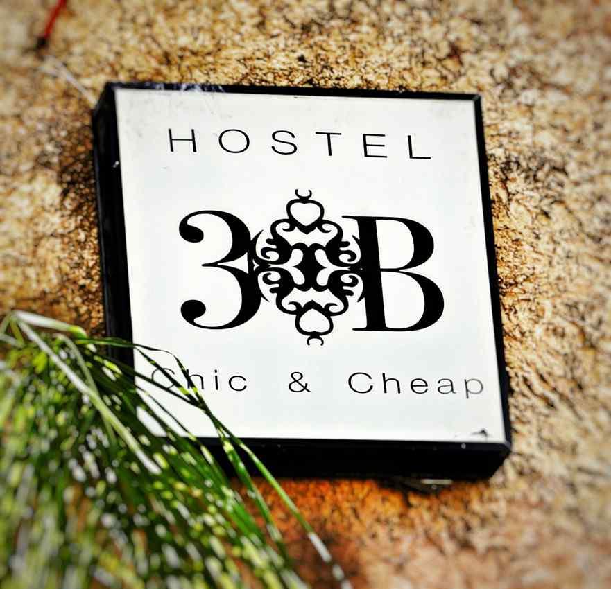 Hostel 3B in Playa Del Carmen entrance sign.