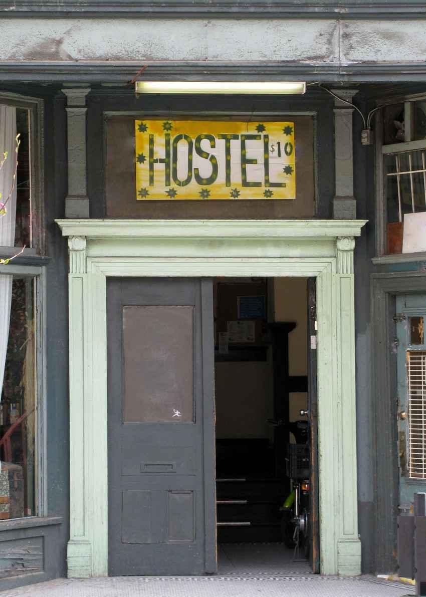 A hostel entryway.