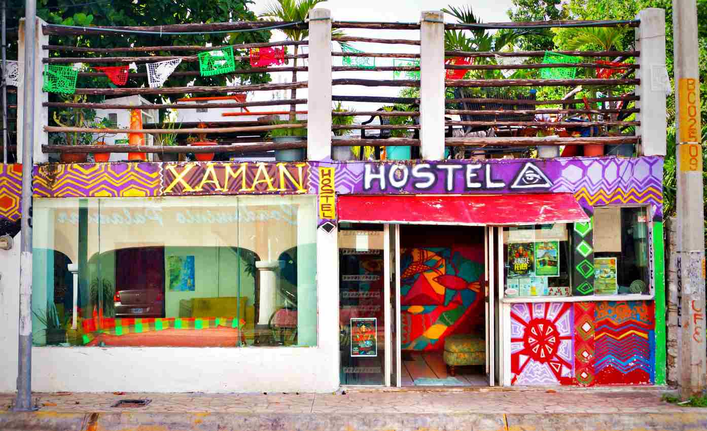 Xaman Hostel rooftop that it is visible as you're standing on 10th St. in Playa Del Carmen.